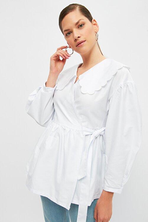 Trendyol Modest Beyaz Bebe Yaka Tesettür Ceket TCTSS21CE0428 2