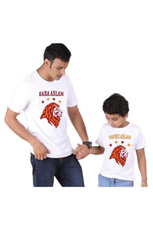 venüsdijital Baba Oğul Baba-yavru Aslan Beyaz Tshirt (TEKLİ ÜRÜNDÜR KOMBİN YAPMAK İÇİN 2 ADET SEPETE EKLEYİNİZ) 1