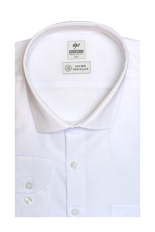 İgs Erkek Beyaz Regularfıt / Rahat Kalıp 7 Cm Klasik Gömlek 1
