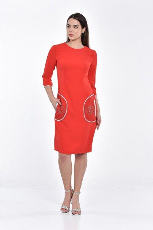 Modkofoni Cepte Taş Detaylı Bisiklet Yaka Uzun Kollu Kırmızı Abiye Elbise 1