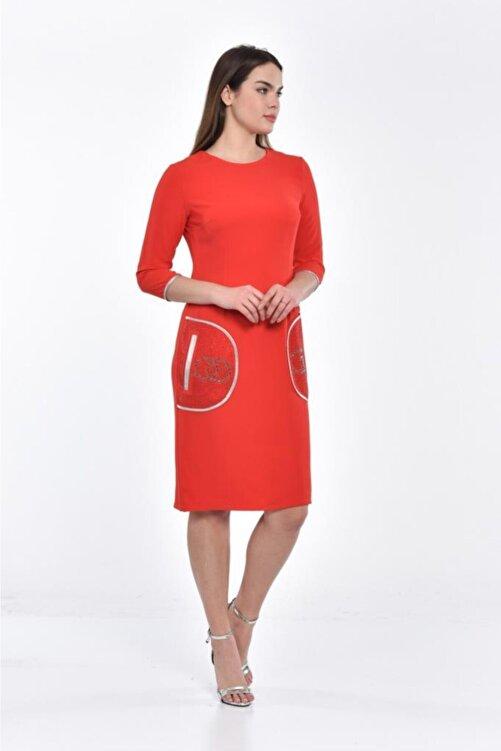 Modkofoni Cepte Taş Detaylı Bisiklet Yaka Uzun Kollu Kırmızı Abiye Elbise 2