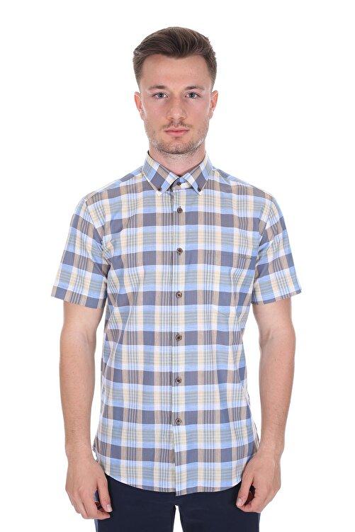 Diandor Kısa Kollu Regular Fit Erkek Gömlek Bej 2112060 1