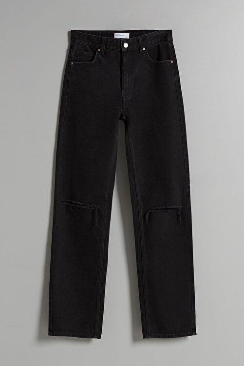Bershka Distressed Yüksek Bel Straight Fit Jean 2