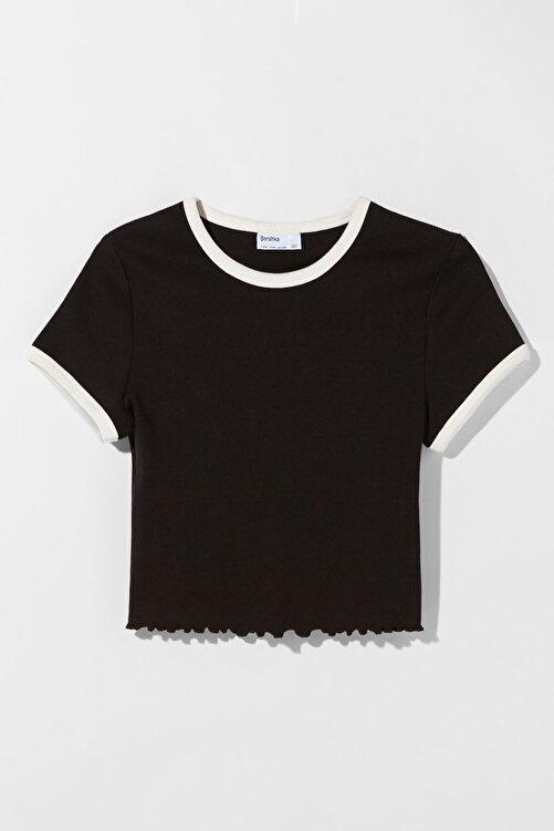 Bershka Kontrast Fitilli Kısa Kollu T-shirt 2