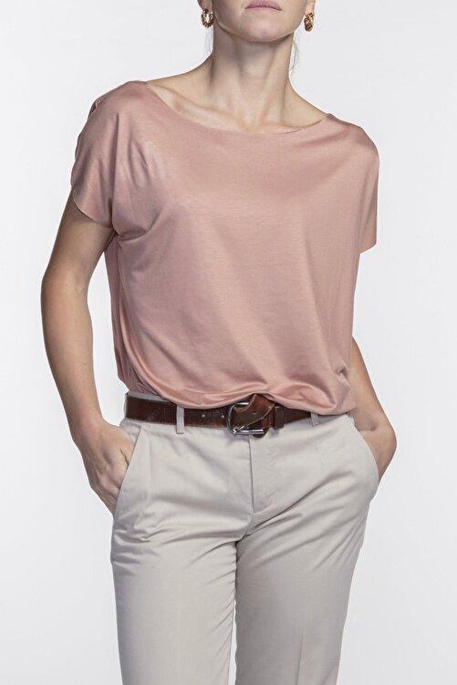 BASIC&CO Eileen Kayık Yaka Viskon Terracotta Basic T-shirt 1