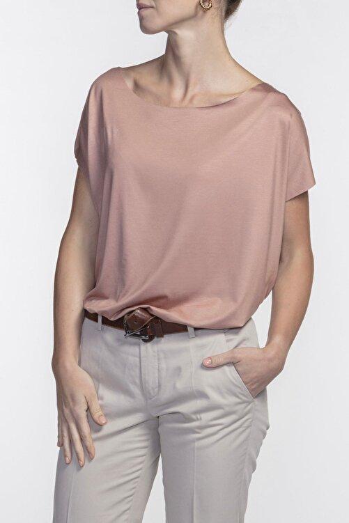 BASIC&CO Eileen Kayık Yaka Viskon Terracotta Basic T-shirt 2