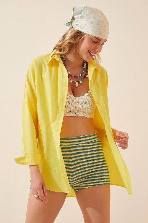 Happiness İst. Kadın Sarı Oversize Uzun Basic Gömlek  DD00842 2