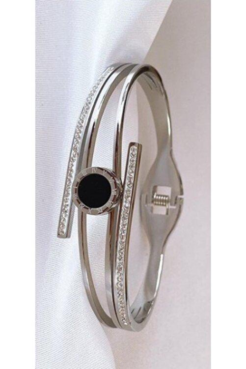 Elegante Kadın Siyah Taşlı Çelik Kelepçe Bileklik 2