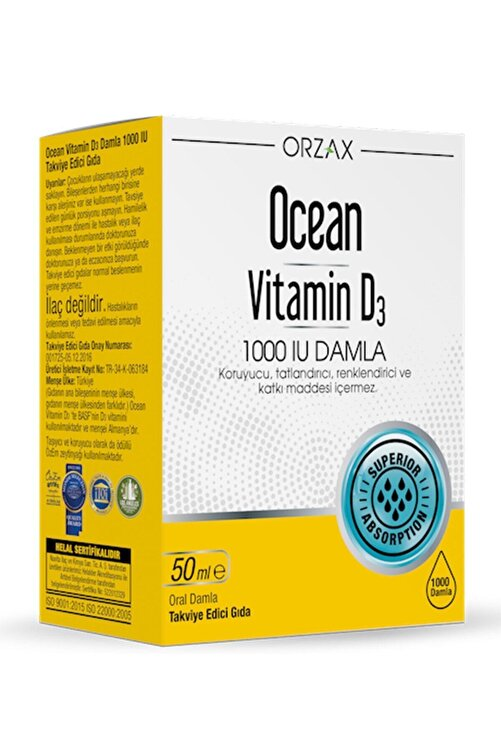 Ocean Vitamin D3 1000 Iu Damla 50 Ml 1