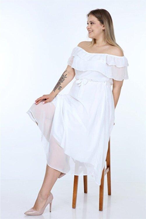 Neşeli Butik Kadın Madonna Yaka Büyük Beden Şifon Elbise Nb8061 2