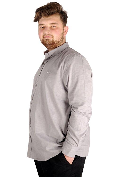 ModeXL Gömlek Uzun Kol Düğmeli Yaka 20390 Gri 2
