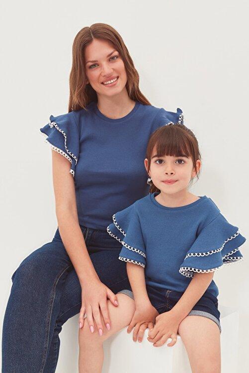 TRENDYOLMİLLA Indigo Fırfırlı Örme Bluz TWOSS21BZ0736 2