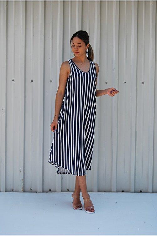 MGS LİFE Sırt Dekolteli Askılı Büyük Beden Kadın Yazlık Elbise 2