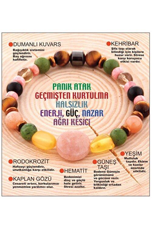 OSMANLI DOĞAL TAŞ Doğal Taş Bileklik - Dumanlı Kuvars,kehribar,rodokrozit,kaplan Gözü,hematit,güneş Taşı,yeşim 1