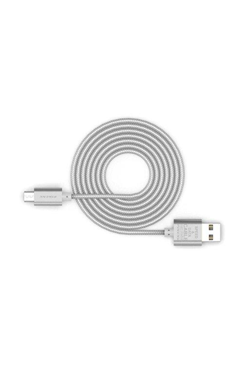 Pineng PN-306 Yüksek Hızlı Micro USB 1 Metre Örgülü Gümüş Data SarjKablo 2
