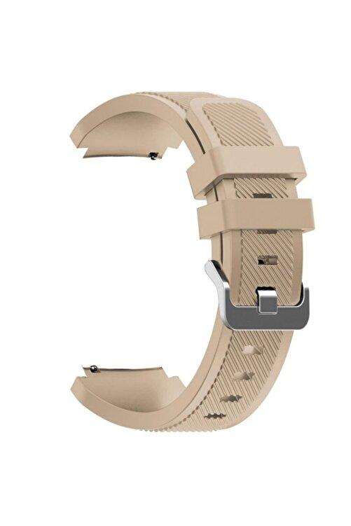Gpack Honor Watch Gs Pro Uyumlu Kordon Silikon Çizgili Kançalı Bej 1