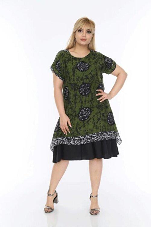 1fazlası Kadın Büyük Beden Haki Etnik Desenli Tülbent Kumaş Yazlık Elbise 2