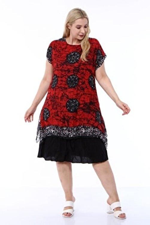 1fazlası Kadın Büyük Beden Kırmızı Etnik Desenli Tülbent Kumaş Yazlık Elbise 2