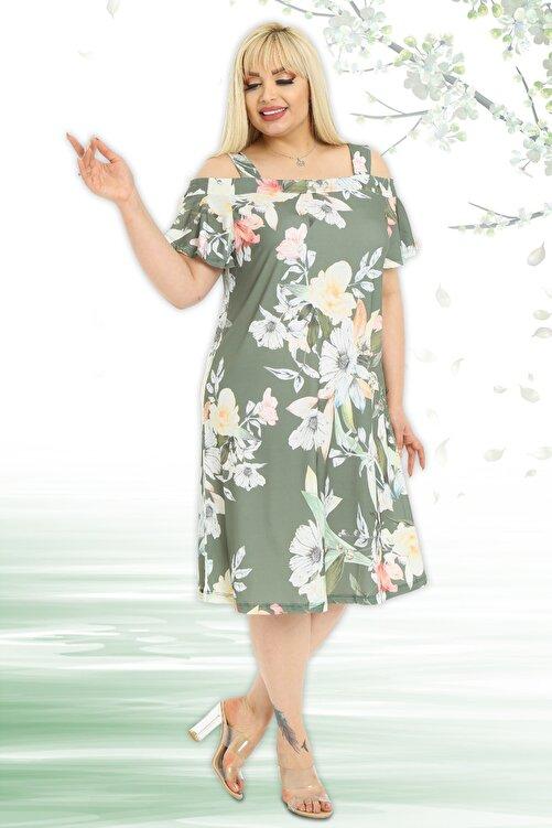 Almira Kadın Yaprak Ve Çiçek Desenli Askılı Sandy Elbise 2