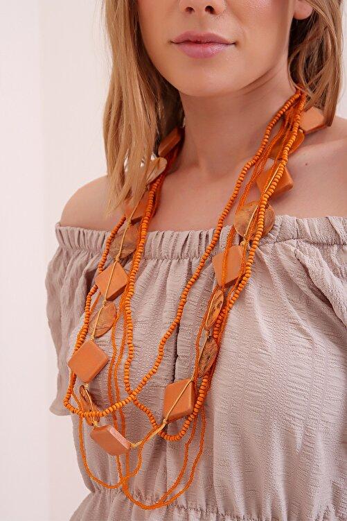Trend Alaçatı Stili Kadın Turuncu Çok Sıralı Sedef Boncuklu Kolye 2