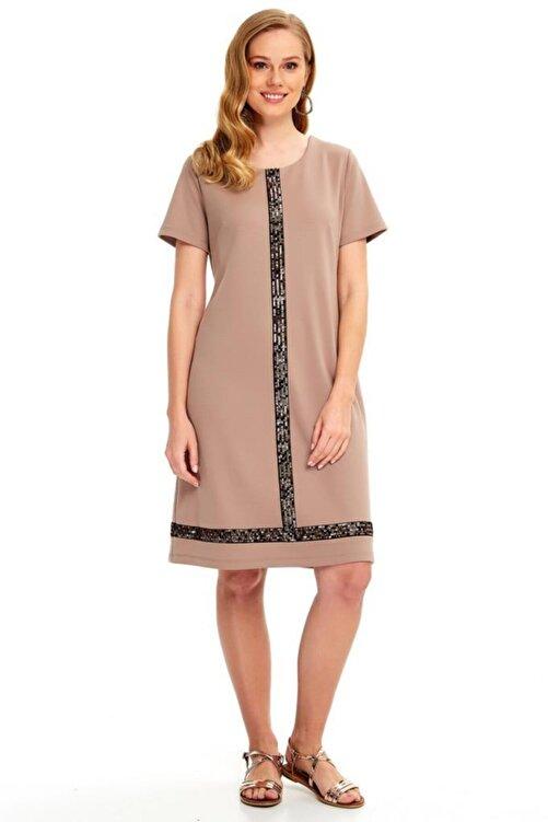 İKİLER Yarım Kollu Önü Ve Eteği Payetli Elbise 020-2500 2