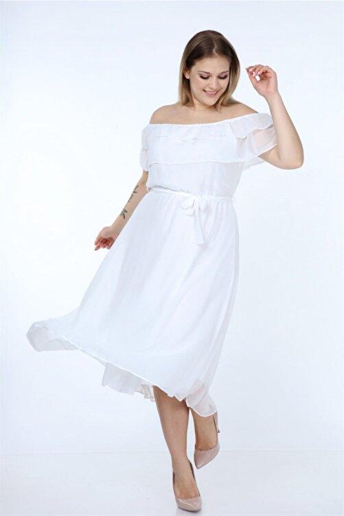 Neşeli Butik Kadın Madonna Yaka Büyük Beden Şifon Elbise Nb8061 1