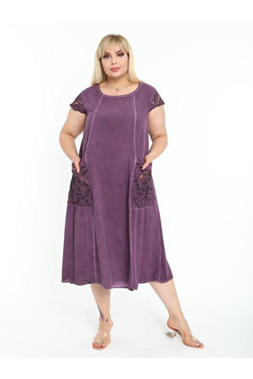 LİKRA Kadın Mor Büyük Beden Kolu Cebi Güpür Detay Lı Yıkamalı Viskon Elbise 1