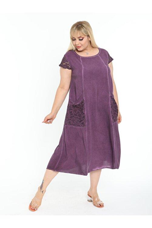 LİKRA Kadın Mor Büyük Beden Kolu Cebi Güpür Detay Lı Yıkamalı Viskon Elbise 2