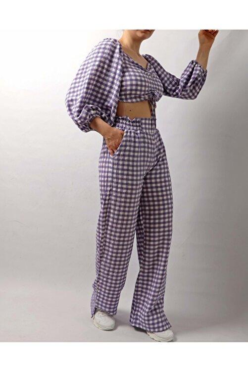 Dilaragul Moda Kadın Piti Kareli Crop Pantolon Takım - Lila - S 1