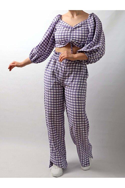 Dilaragul Moda Kadın Piti Kareli Crop Pantolon Takım - Lila - S 2