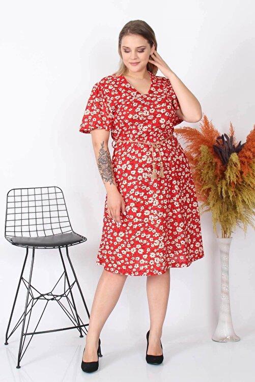 Neşeli Butik Kadın Yeni Sezon Çiçekli Büyük Beden Örme Elbise Nb8073 1