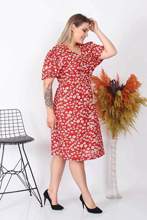 Neşeli Butik Kadın Yeni Sezon Çiçekli Büyük Beden Örme Elbise Nb8073 2
