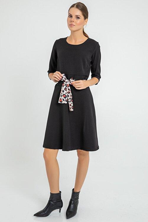 BY H Kuşağı Leopar Detay Elbise Siyah 2