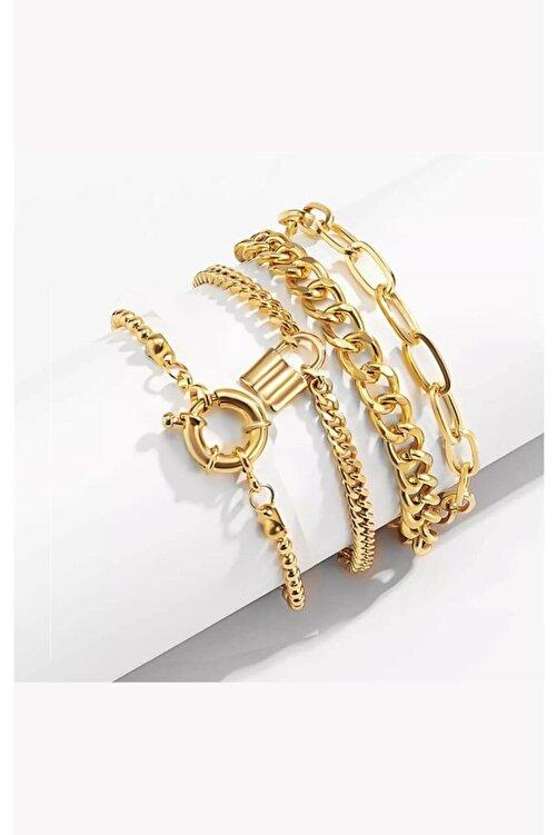 X-Lady Accessories Boho Kalın Altın Renk Kombin Bileklik 1