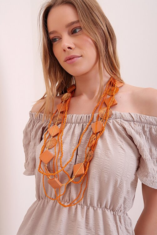 Trend Alaçatı Stili Kadın Turuncu Çok Sıralı Sedef Boncuklu Kolye 1