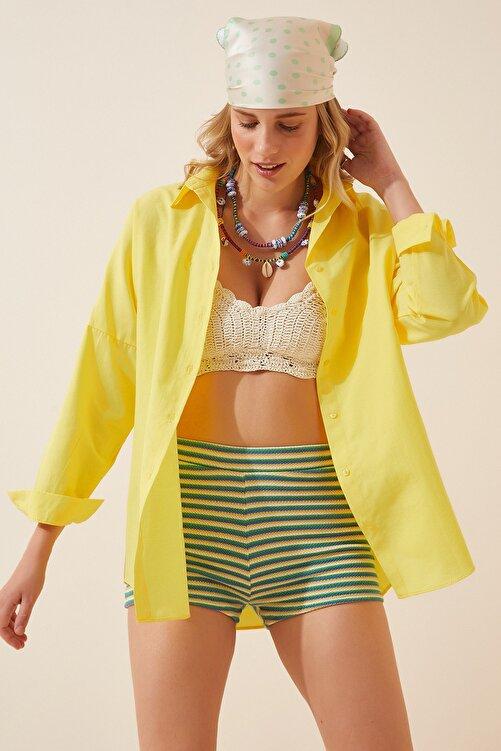 Happiness İst. Kadın Sarı Oversize Uzun Basic Gömlek  DD00842 1