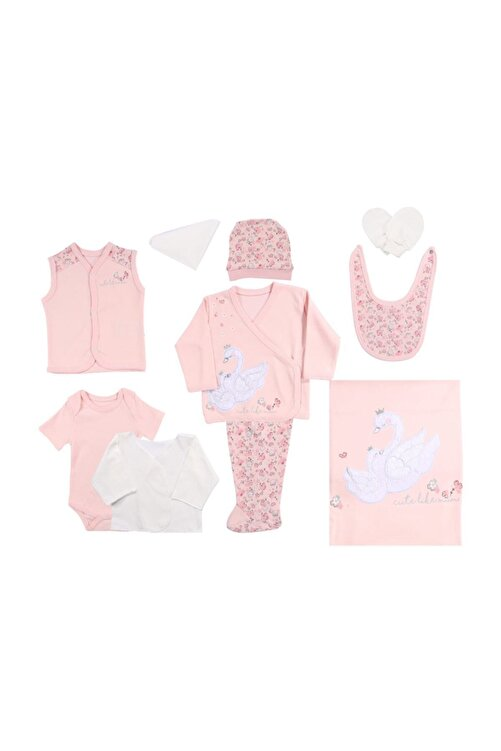 Miniworld Kız Bebek Kuğulu 10p Hastane Çıkışı Zıbın Seti 2