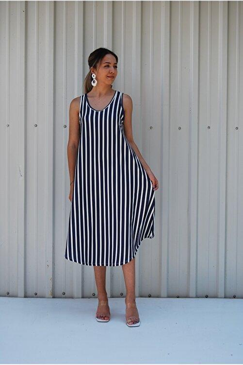 MGS LİFE Sırt Dekolteli Askılı Büyük Beden Kadın Yazlık Elbise 1