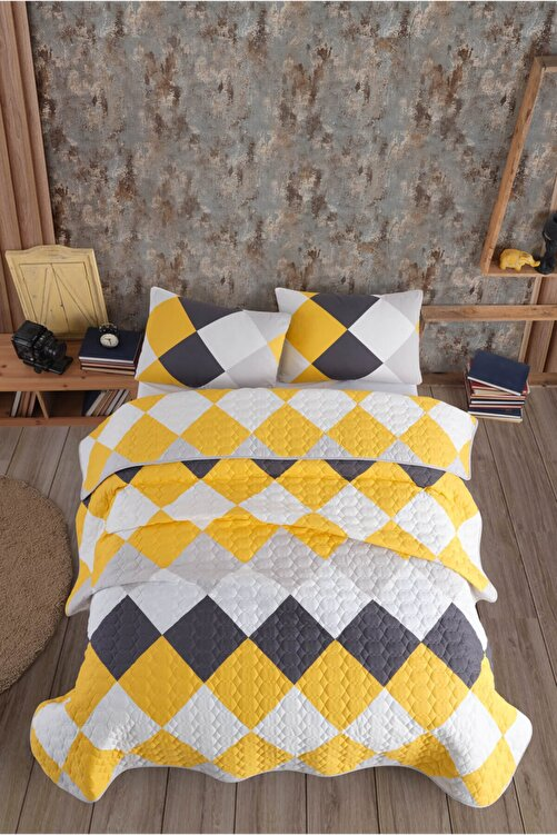 Cotton Touch Quattro Sarı Çift Kişilik Kapitone Yatak Örtüsü 2