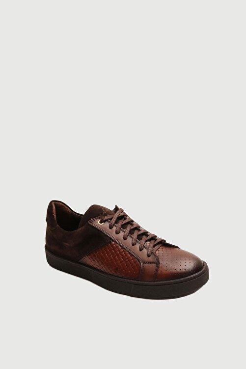 Male Industry Taba Örgü Dokulu Deri Erkek Sneaker 2