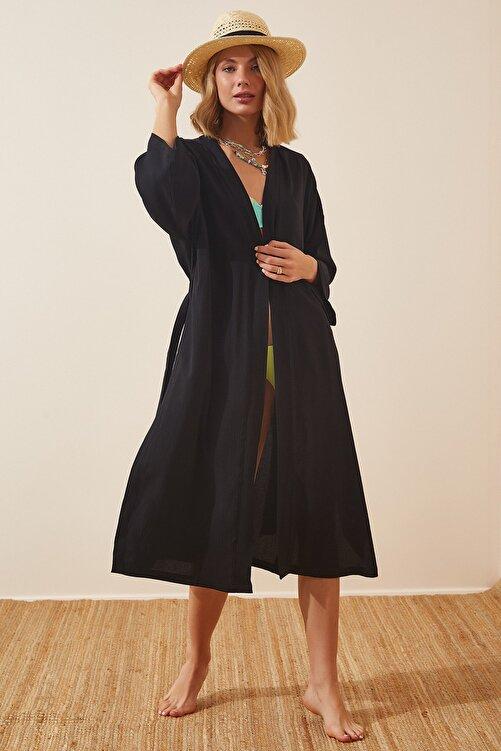 Happiness İst. Kadın Siyah Kuşaklı Krinkıl Viskon Kimono DD00958 2