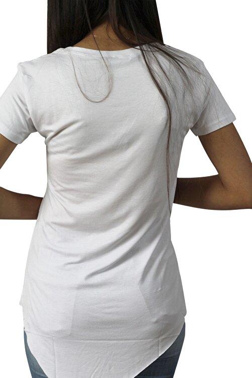 EtkiModa Kadın Beyaz Asimetrik Bisiklet Yaka Tunik T-Shirt 2