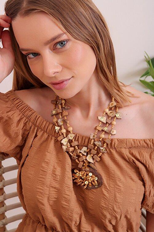 Trend Alaçatı Stili Kadın Tarçın 3 Sıralı Boncuklu Kolye ALC-A2288 1