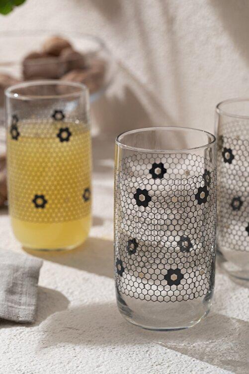 English Home Denby Flowery Cam 3'lü Meşrubat Bardağı 365 Ml Siyah-gold 1