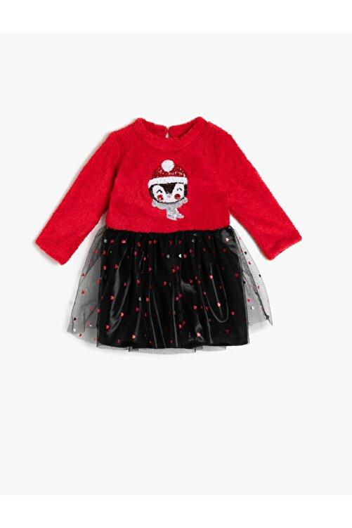 Koton Kız Bebek Kırmızı Polar Tüllü Payetli Uzun Kollu Prenses Elbise 2