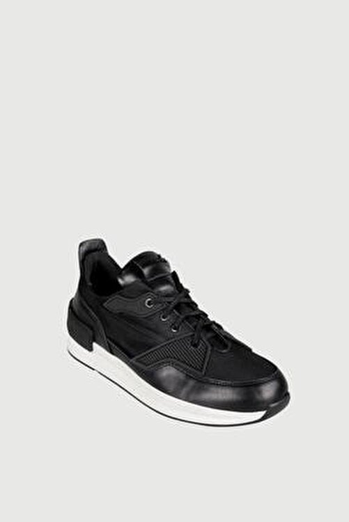 Male Industry Siyah File Dokulu Deri Erkek Sneaker 2