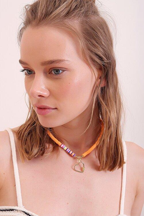 Trend Alaçatı Stili Kadın Turuncu Sıra Boncuklu Kalpli Kolye ALC-A2290 1