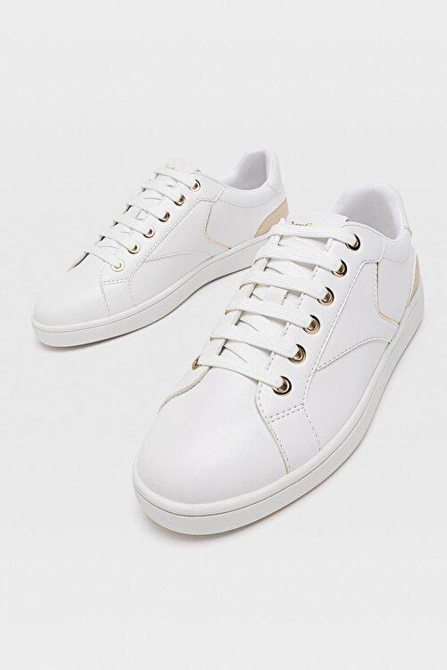Stradivarius Kadın Beyaz Topuğu Parça Detaylı Beyaz Spor Ayakkabı 2