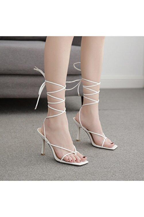 TrendyAnka Kadın Beyaz Günlük Ayakkabı 10cm Topuklu Ipli Küt Kare Burunlu Stiletto Ayakkabı Sandalet Terlik 1