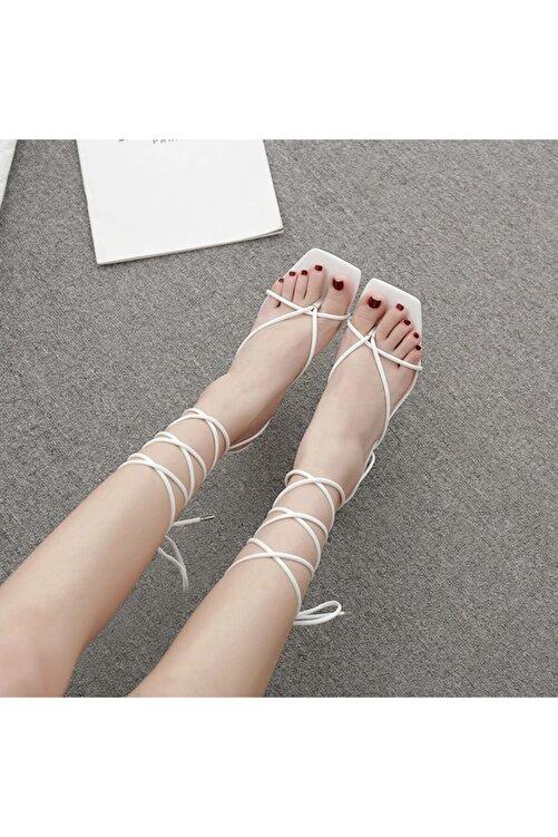 TrendyAnka Kadın Beyaz Günlük Ayakkabı 10cm Topuklu Ipli Küt Kare Burunlu Stiletto Ayakkabı Sandalet Terlik 2